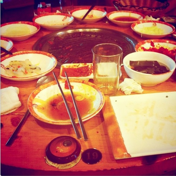 How I like my samgyeopsal to look at the end of the meal...