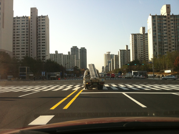 A somewhat irresponsible photograph of the lay of the land outside the brand-spanking new Cheongmyeong Station!